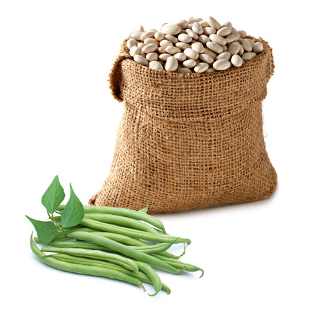 haricot: Fresh And Haricot Beans On White Background Stock Photo
