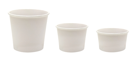 Blank Disposable Paper Cups on White Background In Three Different Size