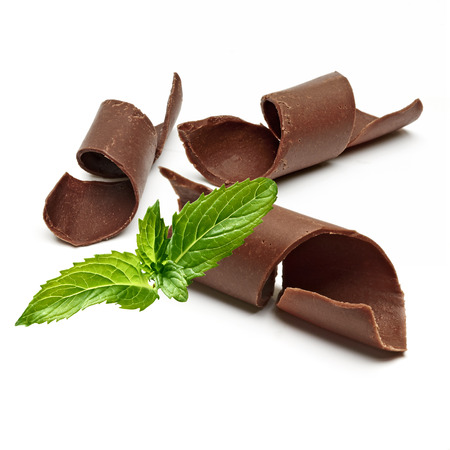 field mint: And Fresh Mint Chocolate Curls with shallow depth of field