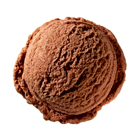flavour: Chocolate Ice Cream Scoop From Top on white background