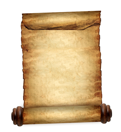 antique paper: Antique blank paper scroll on white background