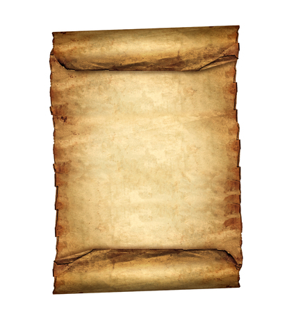 Antique blank paper scroll on white background