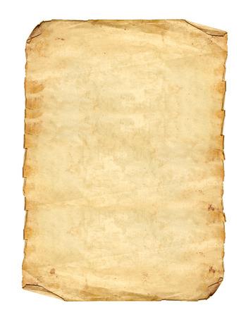 papel quemado: Documentos antiguos en el fondo blanco
