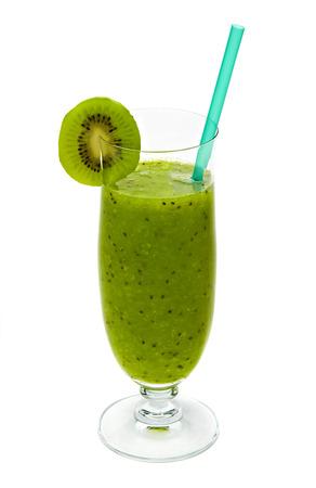 kiwi: Kiwi fruit juice in glass with slice on white background Stock Photo