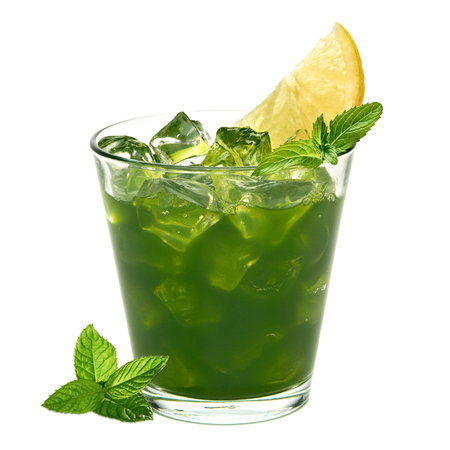 toxins: Mint juice with ice and lemon slice