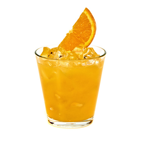 alcohol screwdriver: Orange vodka cocktail with ice and slice isolated on white background Stock Photo