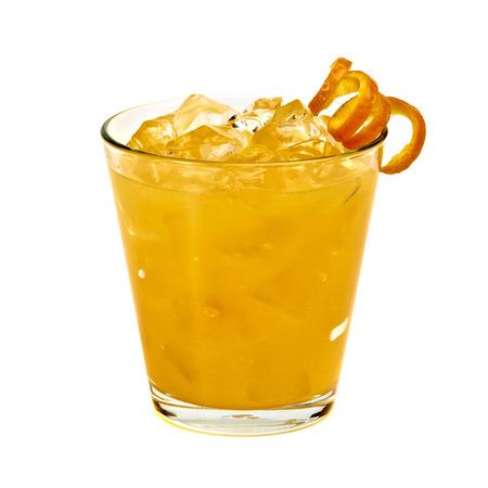 Orange vodka  with ice and garnish on a white background Stock Photo