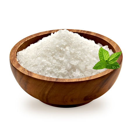 Sea salt and fresh mint in wooden bowl on a white background with clipping path Stock Photo