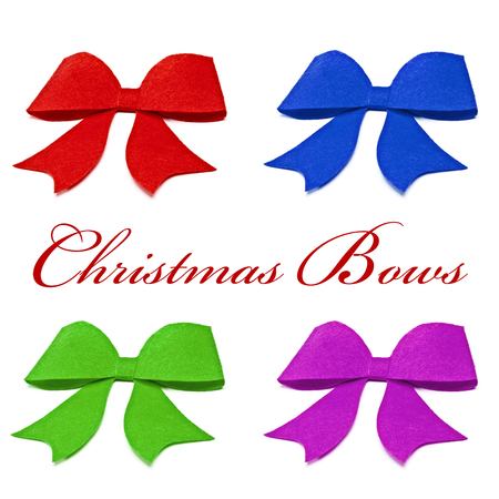 moños de navidad: Christmas bows in different colors on a white background