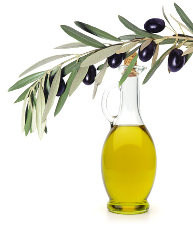 picking fruit: Olive oil with olive branch