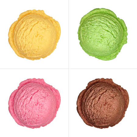 cream tea: Strawberry, mango, chocolate and green tea ice cream scoops top view isolated on white background