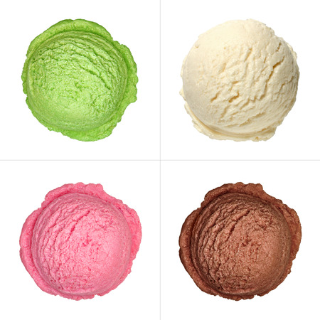 Strawberry, vanilla, chocolate and green tea ice cream scoops top view isolated on white background Stockfoto