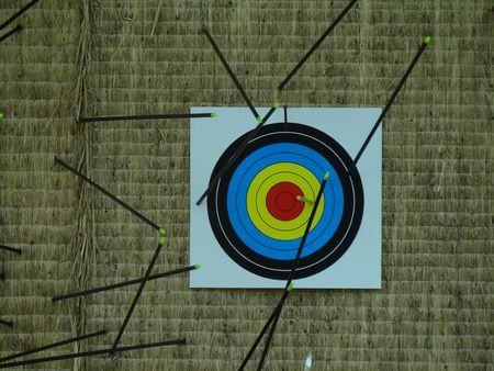 failed attempt: arrows hit target successful concept Stock Photo