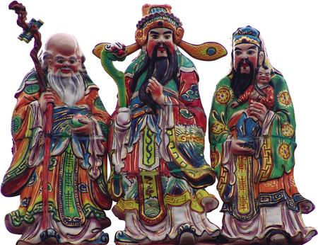 path to wealth: Fu Lu Shou three Chinese lucky Gods Koji Pottery clipping path white background Stock Photo