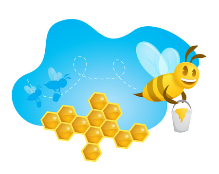 A happy bee carrying a bucket full of honey leaving a path  Honeycombs and two silhouette friends over an organic and luminous blue shape  Vector