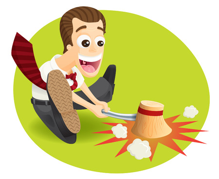 sales manager: funny and crazy manager jumping and hammering For goal achievements, done deals, sales    Illustration