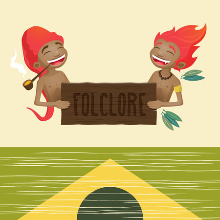 characters of the brazilian folklore holding a wooden sign Illustration