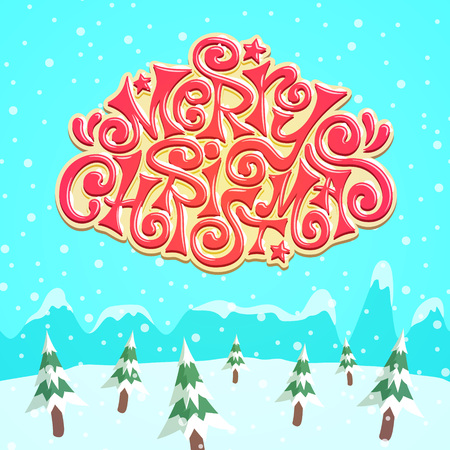 snow covered: Cool snow covered Merry Christmas lettering over pine forest - Xmas theme for your designs