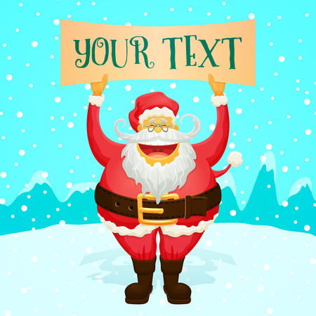 chubby cartoon: Chubby Funny Santa Claus Holding Sign - Cool Character for your designs