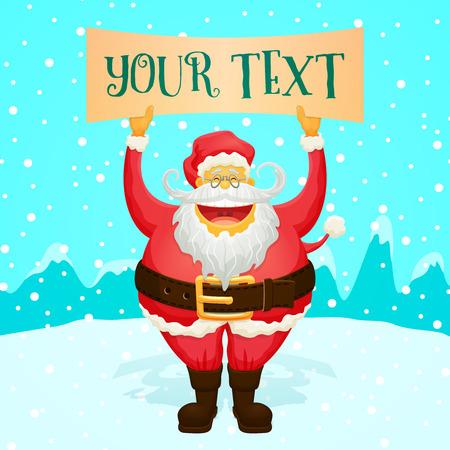 weihnachtsmann lustig: Chubby Lustige Weihnachtsmann-Holding-Zeichen - cooler Charakter f�r Ihre Entw�rfe Illustration