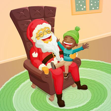 weihnachtsmann lustig: Kleine schwarze Junge zu fragen Weihnachtsmann f�r ein gro�es Geschenk - Nette Weihnachtsszene Illustration