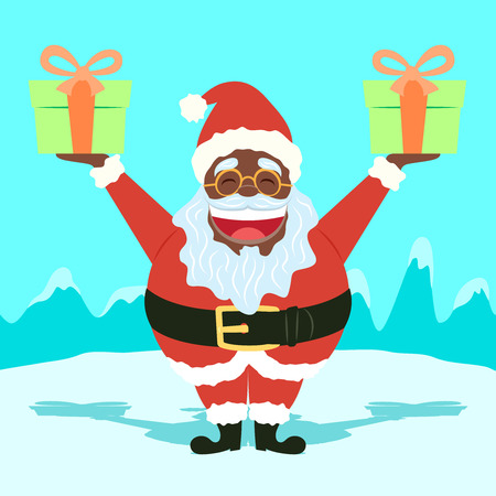 Black Santa Claus Holding Presents Funny - Cool Character for your designs