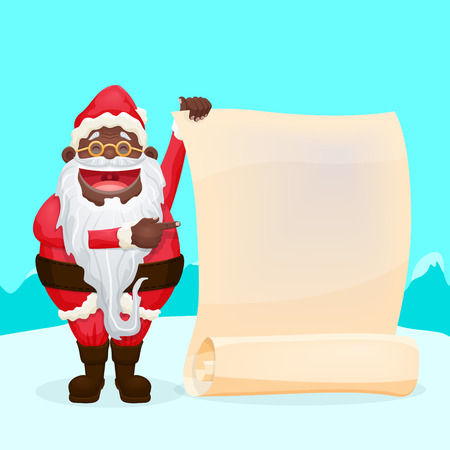 jubilation: Funny Black Santa Holding Blank Scroll Illustration