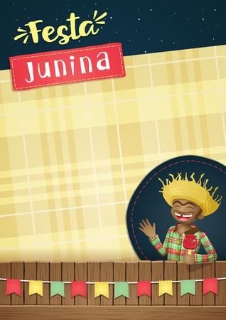 June Festival, brazilian june party or invite Template Векторная Иллюстрация