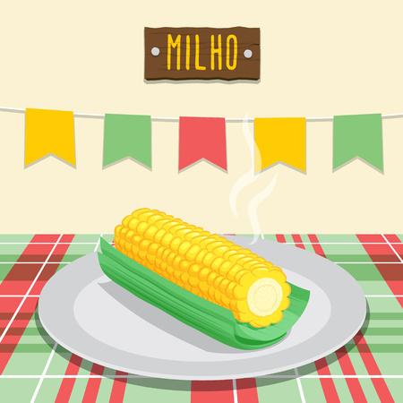 corn on the cob: Corn Cob - June Festival, brazilian june fest Illustration