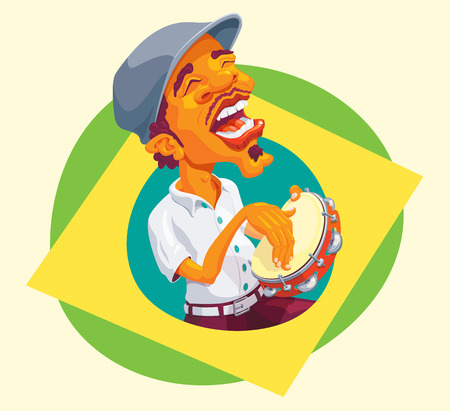 black men: Brazilian smart guy singing and playing samba in the tambourine Illustration