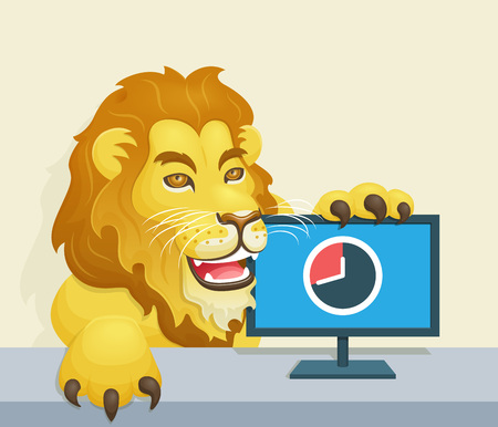 declaration: Lion beside monitor representing the deadline for income tax declaration