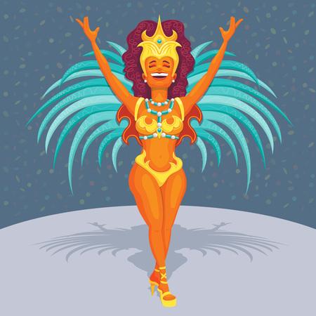 Beautiful brazilian samba dancer - Detailed vector cartoon for brazilian carnival subjects