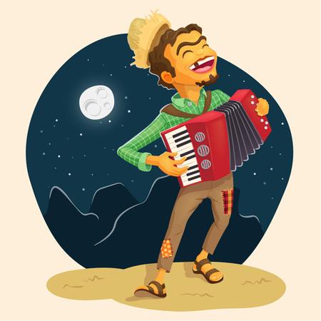 Feliz campesino tocando el acordeón - ilustración detallada para los temas de la fiesta de junio brasileño