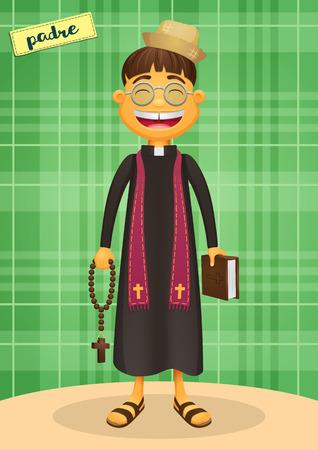 sotana: Sacerdote católico - Festa Junina, fiesta brasileña de junio - Personaje feliz para los temas fest de junio Vectores