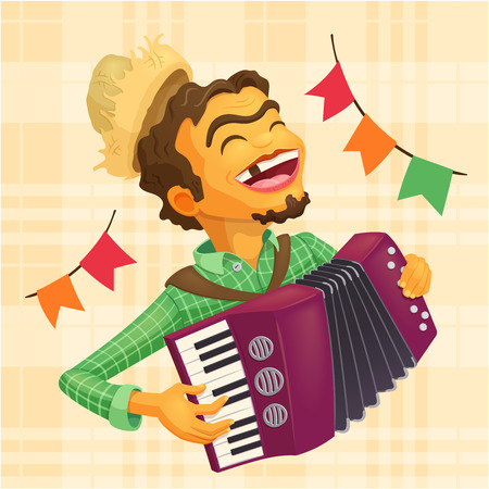 Happy peasant playing the accordion - Detailed illustration for brazilian june party themes