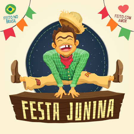 Brazilian Junk Party - Happy peasant jumping over sign - Made in Brazil - Made with love - Detailed vector cartoon for june party themes Vector Illustration