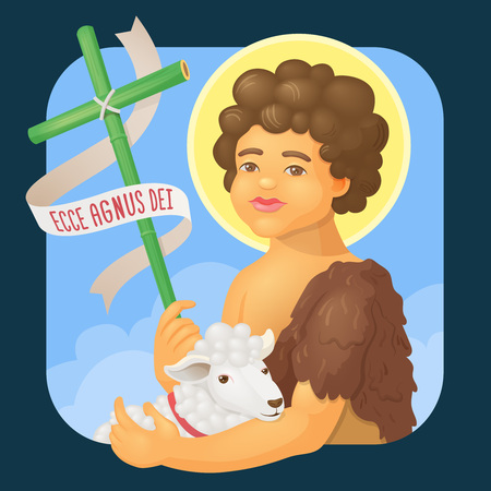 aureole: Saint John Baptist, honored in brazilian june parties - Ecce agnus dei (Behold the Lamb of God) - Vector cartoon for june party or religious themes