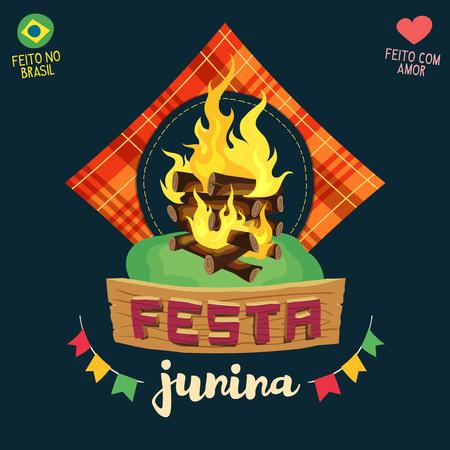 fiery: Festa Junina (Brazilian June Party) - Bonfire logo - Made in Brazil - Made with love - Creative vector cartoon logo for june party themes