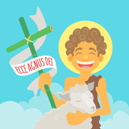Saint John the Baptist, honored in brazilian june parties - Ecce agnus dei (Behold the Lamb of God) - Flat vector cartoon for june party or religious themes