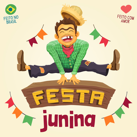 Brazilian Junk Party - Happy peasant jumping over sign - Made in Brazil - Made with love - Detailed vector cartoon for june party themes. Illustration