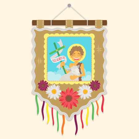 Saint John the Baptist - Ecce agnus dei (Behold the Lamb of God) - Flat vector cartoon for june party or religious themes Иллюстрация
