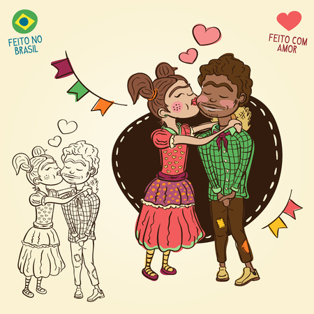Young peasants in love - Brazilian june party style - Made in Brazil - Made with love - Creative cartoon characters for june party themes