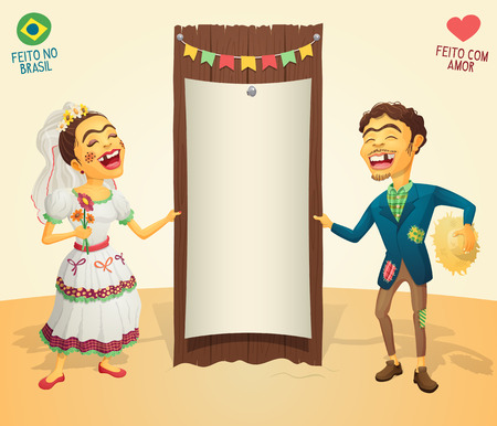 Brazilian June Party happy hick couple holding blank thematic board - Made in Brazil - Made with love - High quality detailed vector cartoon for june party themes. Illustration
