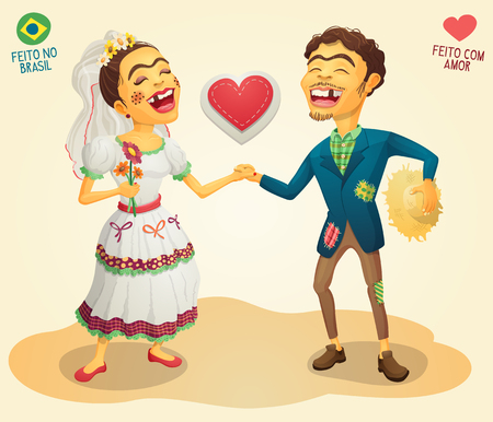 Brazilian June Party happy hick couple - Made in Brazil - Made with love - High quality detailed vector cartoon for june party themes.
