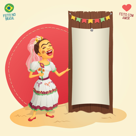 Brazilian June Party hick bride holding blank thematic board - Made in Brazil - Made with love - High quality detailed vector cartoon for june party themes.