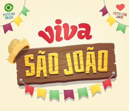 ビバ サン ジョアン (雹聖ヨハネ) - ブラジルの 6 月パーティー クールなテーマの木製看板ロゴ - 複数のレイヤー - ブラジル - 愛で作られた製  イラスト・ベクター素材