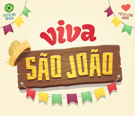 Viva Sao Joao (Hail Saint John) - Brazilian June Party Cool thematic wooden sign logo - Multiple layers - Made in Brazil - Made with love