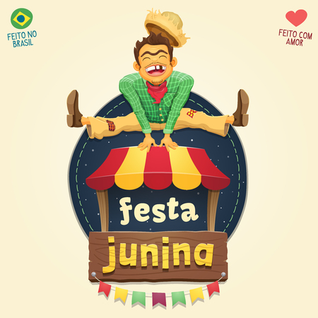 Happy hillbilly jumping over tent logo - Brazilian June Party - Multiple layers - High quality vector cartoon for june party themes - Made in Brazil - Made with love