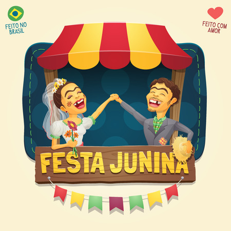 Brazilian June Party hick couple in front of a tent wooden sign / header - Multiple layers - Made in Brazil - Made with love