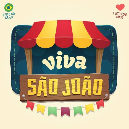Viva Sao Joao (Hail Saint John) - Brazilian June Party Cool thematic tent with wooden sign logo - Multiple layers - Made in Brazil - Made with love